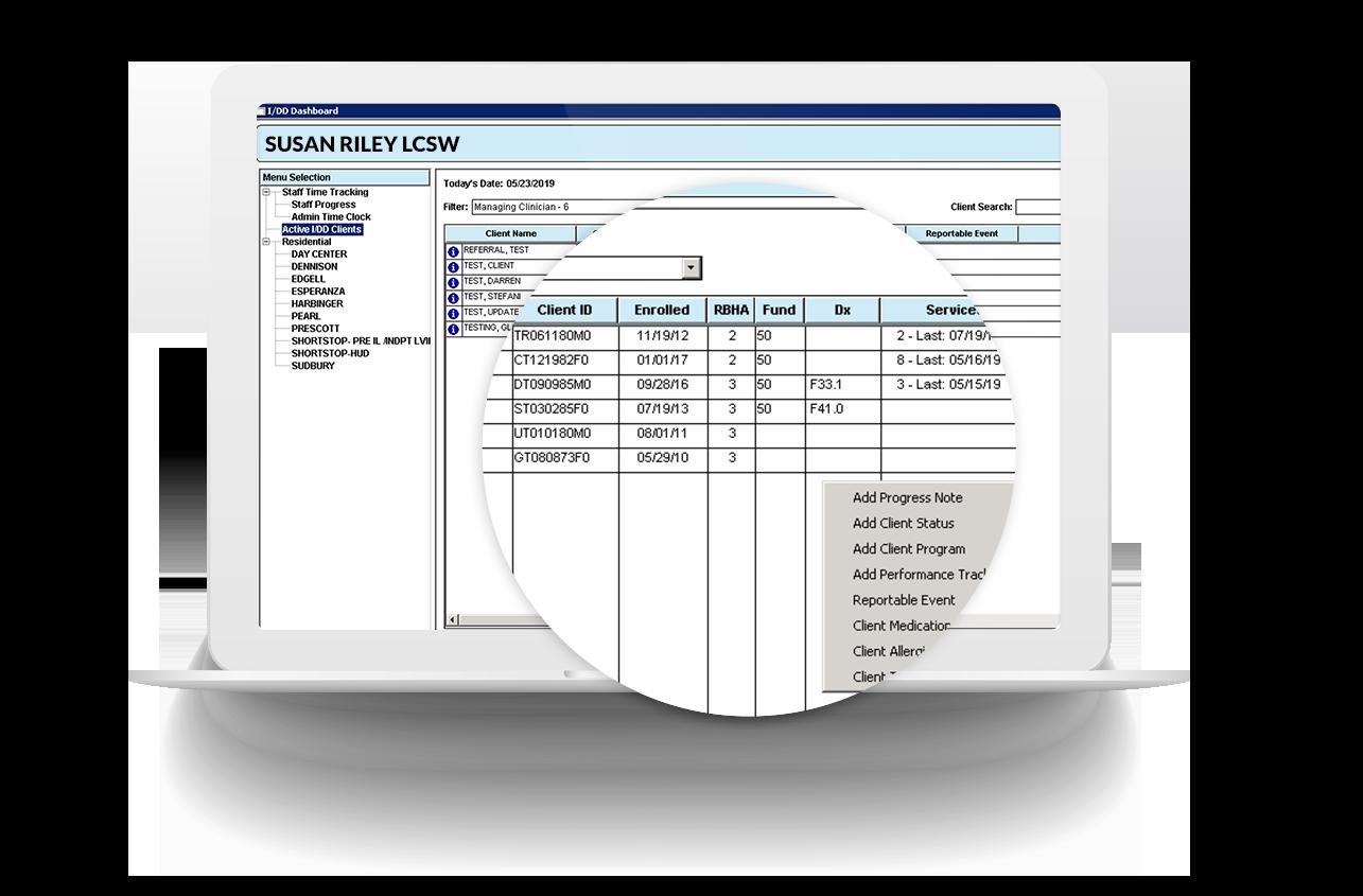 client dashboard screen