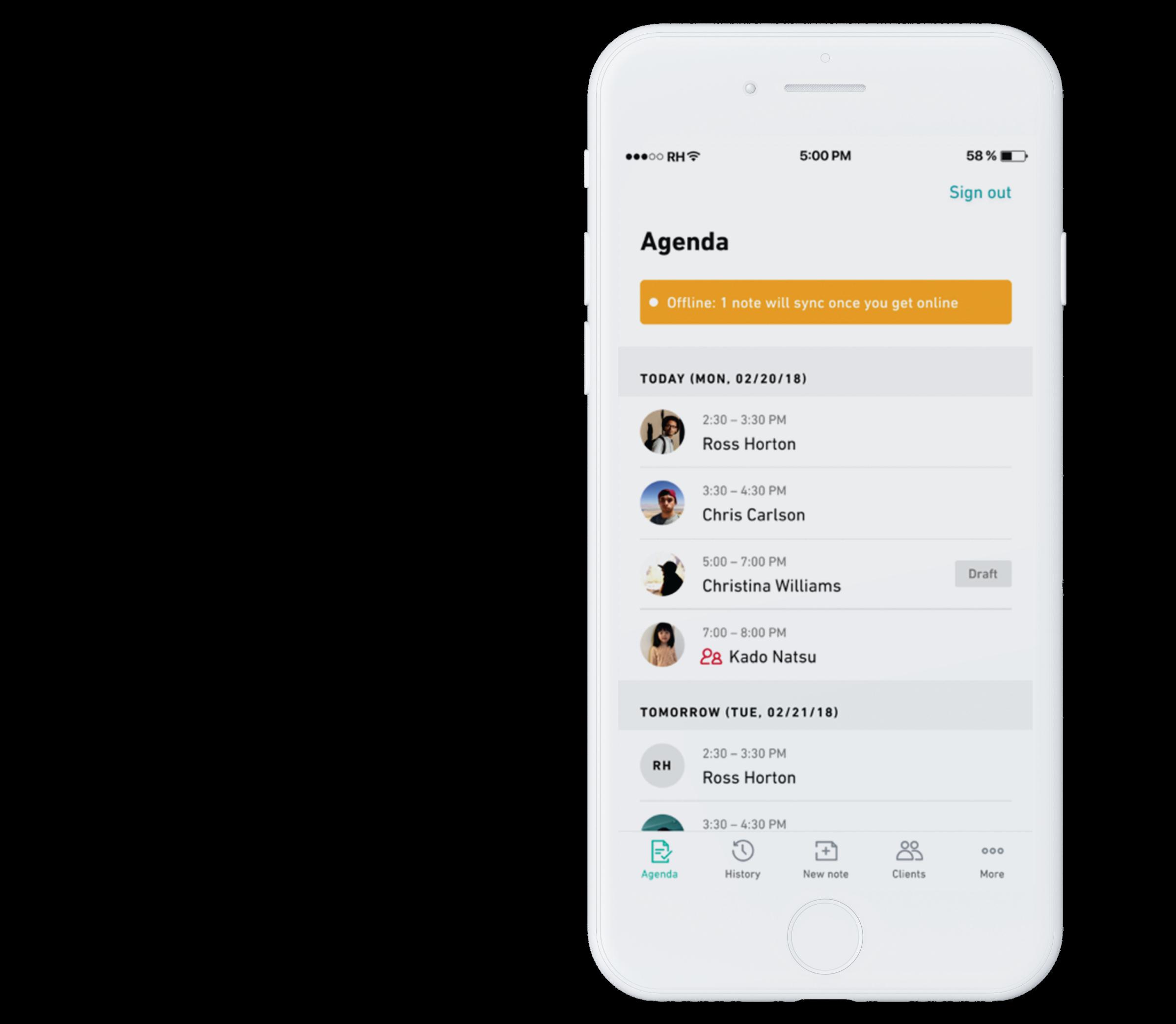 mobile companion agenda experience