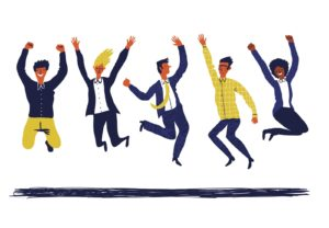 illustration of people jumping for joy
