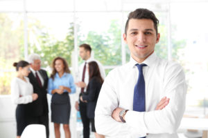 man smiling at work